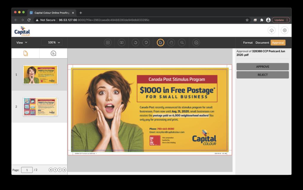 Online Proofing Portal Main Screen